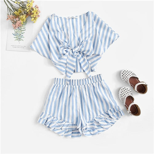 Kiddie V Neck Striped Knot Front Top And Layered Hem Shorts Girls Outfits