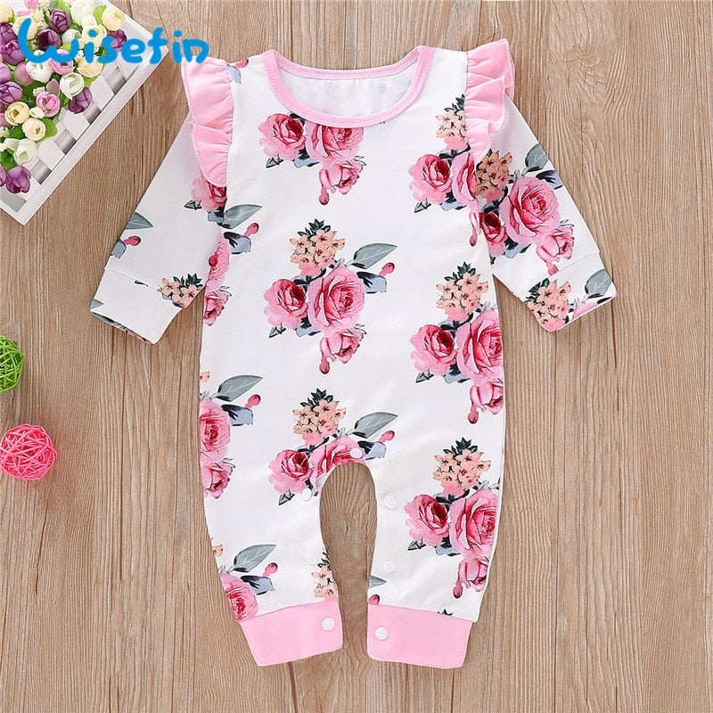 Newborn Girl Romper Long Sleeve Autumn Winter Floral Baby Romper