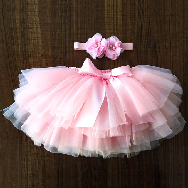 Baby Girls Tulle Bloomers Tutu Diapers Cover 2pcs Short Skirts + Headband