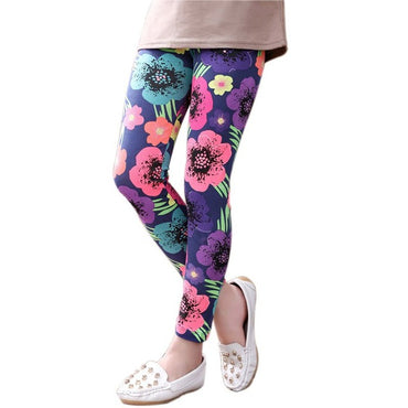 Lovely Girls Leggings Floral Printed Elastic Long Pants
