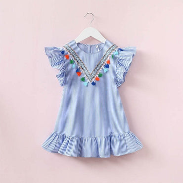 Baby Girl Family Matching Clothes Mom And Daughter Dress Nine Quarter Stripe Tassel Mini