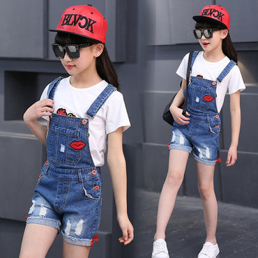 Girls Fashion Denim Jeans Suspender Shorts Jumpsuit