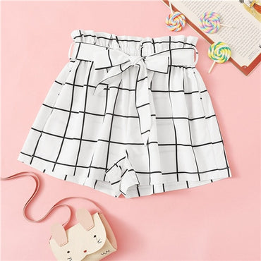 Kiddie Girl White Plaid Elastic Waist Casual Shorts With Belt