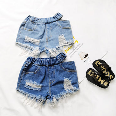 Girls Fashion Ripped Holds Denim Shorts