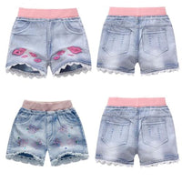 Girls Lace Bow Flowers Embroidery Jean Short