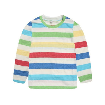 Long Sleeve O-Neck Strip Cartoon Print Casual T-shirt