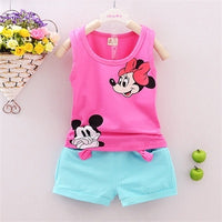 New Arriva Minnie Vest + Short Pants Summer Style Kids Unisex Clothing Sets