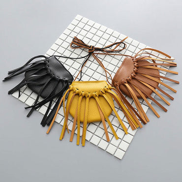 Leather Tassel Small Shoulder Messenger Bag Fashion School Bags