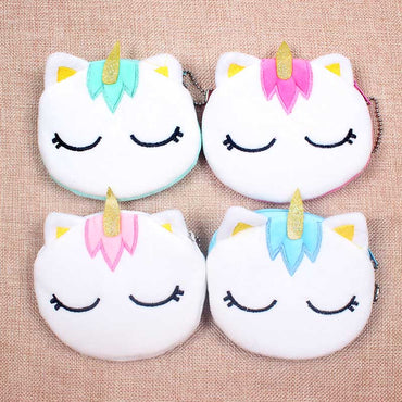 5 Colors Hot On Sale Kawaii Cartoon Unicorn Children Plush Coin Purse