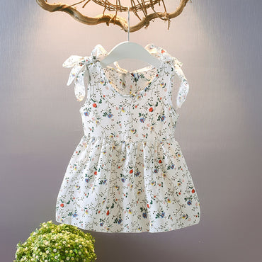 Baby Girl Sleeveless Ribbons Bow Floral Vest Dress