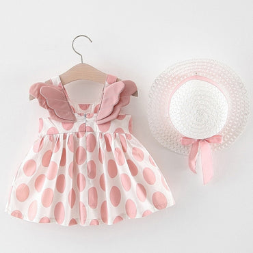 Baby Girl Sleeveless Floral Party Princess Dress with Cute Hat