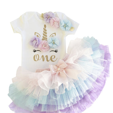 1 Year Birthday Cute Baby Girl Unicorn Tutu Dress