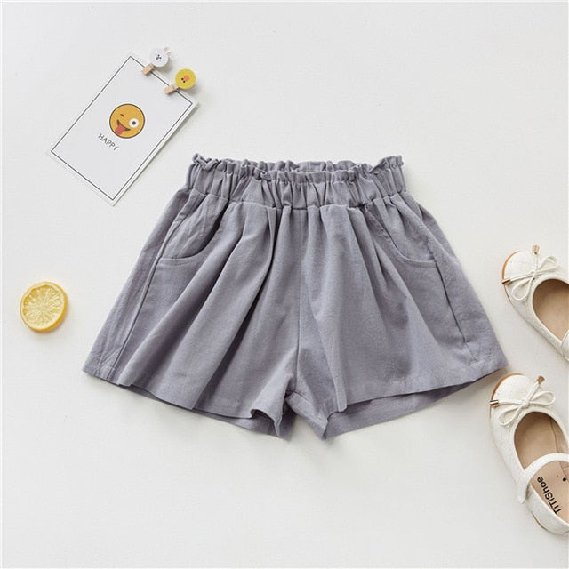 Toddler Girl Cotton Linen Breathable Shorts