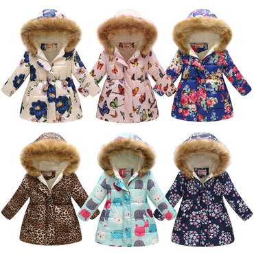 Warm Down Jackets Kids Fashion Printed Thick Outerwear