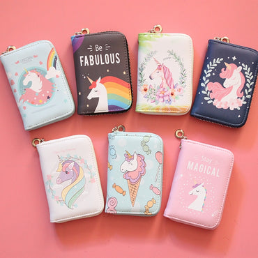 zipper wallet lovely Korean unicorn schoolgirl