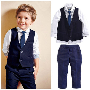 2019 Kids Baby Boys Tuxedo Suit Blazers Shirt Waistcoat Tie Pants Formal Outfits Clothes