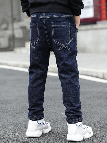 Young Boy's Slim Jeans Solid Color Denim Long Pants