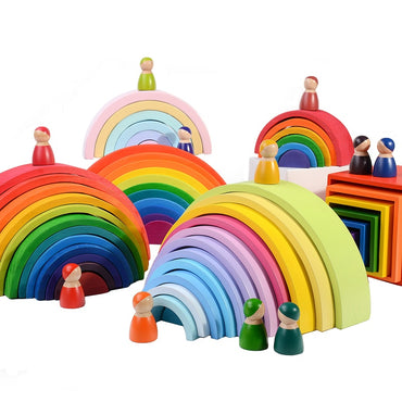 Rainbow Stacker Wooden Toys For Kids Creative Rainbow Building Blocks