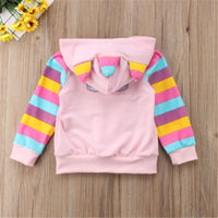 Girl Striped Cute Cartoon Pigs Hooded Sweatshirts