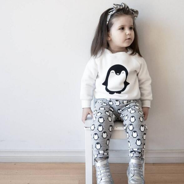 Newborn Baby Clothes Outfits Fashion Long Sleeve Penguin T-shirt+Pants+Headband