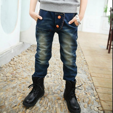 New Fashion Denim Warm Pants Elastic Waist Jeans For Boy