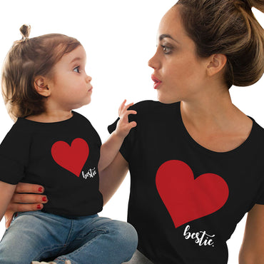 Mother Daughter Matching family outfits T shirt soft cotton Heart print Tops