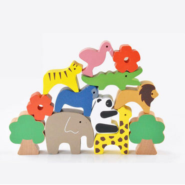 Cute Forest Animal Seesaw Building Blocks Wooden