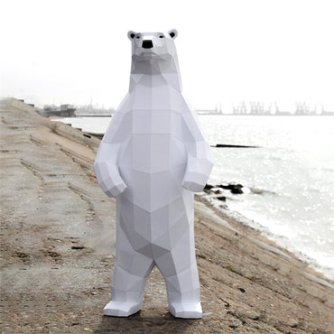 Creative Paper Polar bear Model Toys 3D DIY material manual creative Party show props