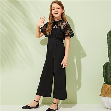 Kiddie Black Drop Shoulder Contrast Lace Trim Knot Wide Leg Girls Party Jumpsuit