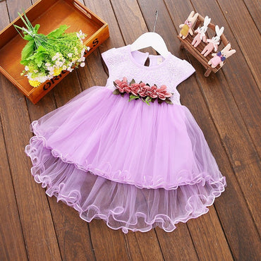 Cute Baby Girls Tulle Flower Mesh Tutu Party Princess Dress