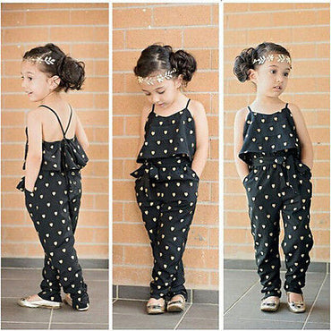Girls One-piece Sleeveless Heart Dots Bib Playsuit Jumpsuit