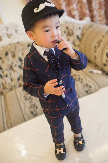 Edition New Baby Suit Mini-Dress Children Long Sleeve Plaid Set Boy Kids Suits