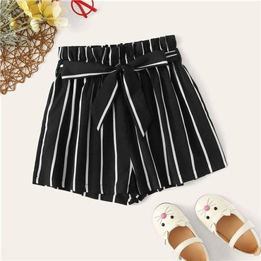 Kiddie Striped Elastic Waist Casual Belted Shorts Girls