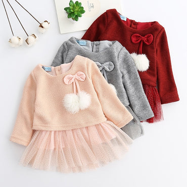 Baby Girl Long Sleeve 2 Pieces Party Dress