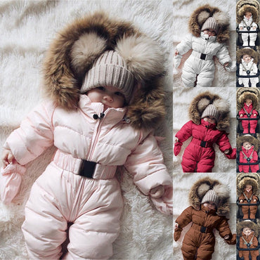 Baby Boy Girl Romper Jacket Hooded Jumpsuit Warm Thick Coat Outfit
