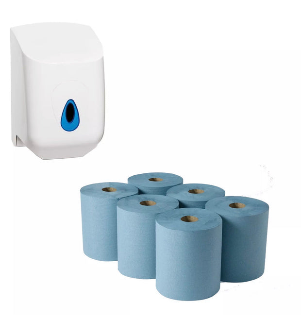 6 Pack Of Blue Roll + Wall Mounted Dispenser