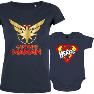 t shirt duo super maman bebe garcon
