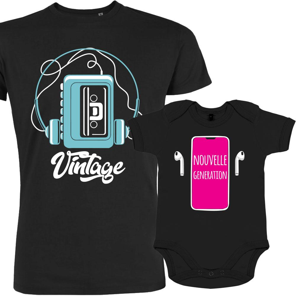 Cadeau papa : T shirt papa fille assorti Baladeur vs Iphone