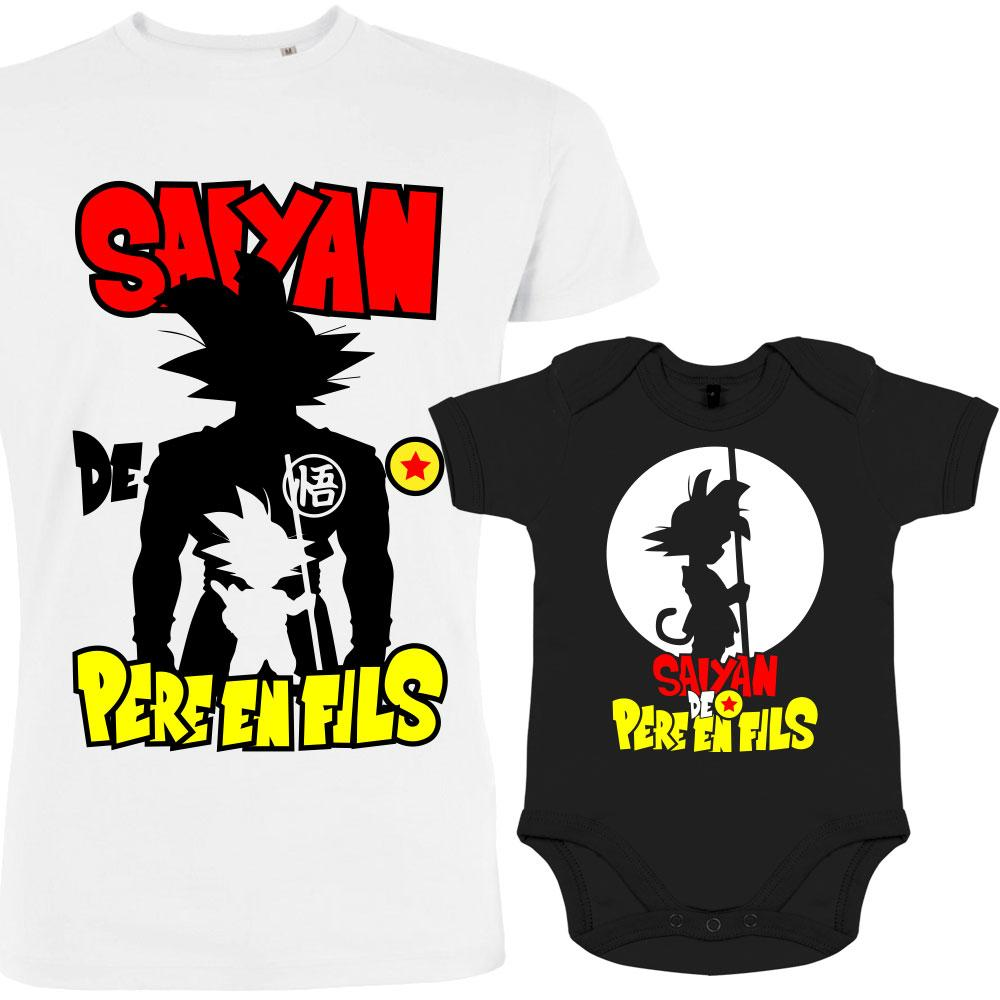 T-SHIRT PERE FILS GEEK DRAGON BALL