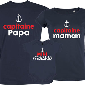 vetement assortis pere fils maman capitaine