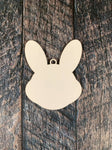 Easter Bunny Head Sublimation Hardboard Single Sided Ornament