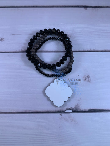 Black Beaded Bracelet Sublimation Kit