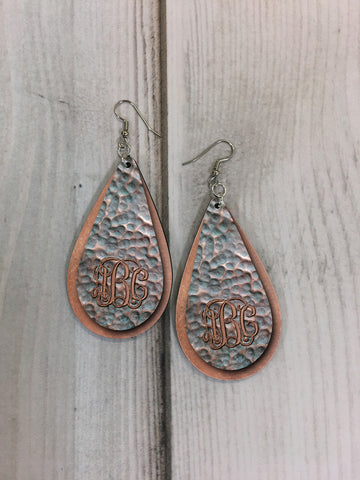 EDITABLE PSD - Patina Copper Drop Earring Sublimation Design