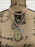 Cream Colored Beaded Glass Necklace Sublimation Kit