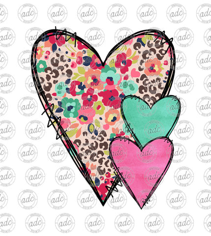 Floral Leopard Print Heart Trio Sublimation Design