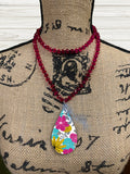 Hot Pink Beaded Glass Necklace Sublimation Kit