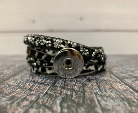 Black Leopard Print and Rhinestone Faux Leather Sublimation Snap Wrap Bracelet