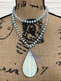 Light Blue and White Beaded Glass Necklace Sublimation Kit