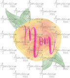 Peach Floral Mom Sublimation Design