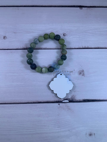 Olive Green Beaded Natural Stone Bracelet Sublimation Kit